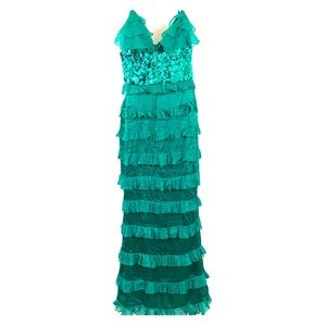 Bebe: Green, Ruffled, Sequence Dress